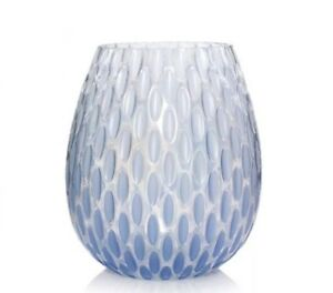 YANKEE CANDLE PEARLESCENT BLUE GLASS JAR CANDLE HOLDER RETIRED EASTER SPRING HTF