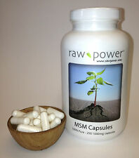 MSM Capsules, 100% pure (250 v-caps, 1000mg each, made in USA!), Raw Power brand