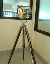 LARGE DESIGNER NAUTICAL CHROME TRIPOD FLOOR LAMP SEARCH LIGHT, MARINE FLOOR LAMP