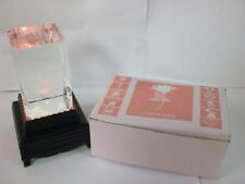 """SET OF 2 SOLID GLASS 3-1/8""""x2""""  LASER ETCHED """"LOVE"""" BLOCK W/LIGHT UP STAND NIB"""
