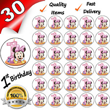 1st FIRST BIRTHDAY GIRL Edible Cupcake Fairy Cake Toppers x 30