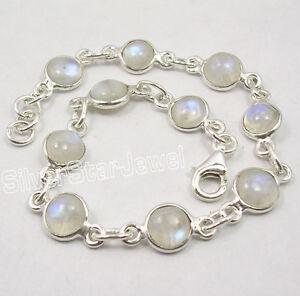".925 Sterling Silver Unseen RAINBOW MOONSTONE 10 GEMSET Bracelet 8 1/8"""