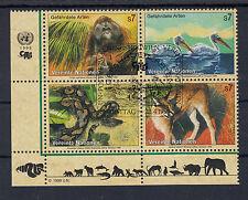 3029 ) UN Vienna 1999 used/ Endangered Species Monkeys, pelican, Snake, Lynx