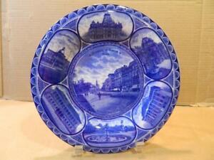 "Rowland & Marsellus Flow Blue 10"" Souvenir Plate ""Tremont Street Mall"" Boston"