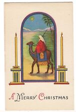A MERRY CHRISTMAS Religious Figure Riding Camel, Candles Star Postcard J.P. N.Y.