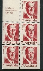 1972 Australia - Prime Ministers - S M Bruce Booklet Pane - 5 stamps & 1 tab