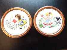 Pair Vintage 60's Foley Nursery Rhyme Wall Plates Copper Mounted in Australia