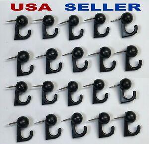 20 Black Hook Hangers Thumb Tacks Push Pins Home Office Decor  Cork Memory Board