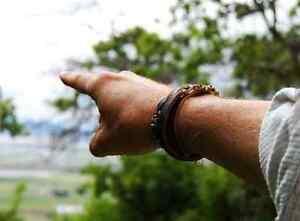 Mens Leather Stone Bracelet  The Laramie   Tiger Eye, Black Onyx Sterling Cuff