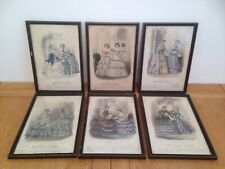 6x Modes de Paris Antique Magazine Plates - pub. Petit Courrier des Dames c.1853