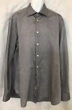 Kiton Shirt Gray Cotton Button Down 17 1/2×44