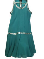 Womens Dress Miss Selfridge Size 16 Green Silver Trimming Silk &Fully Silk Lined