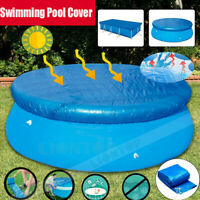 Rectangle/Round Swimming Paddling Pool Cover Inflatable Easy Fast Set Rope Blue