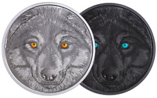 2017 Eyes Great WOLF $15 23.17gram Pure Silver Proof Coin Canada Glow-In-Dark