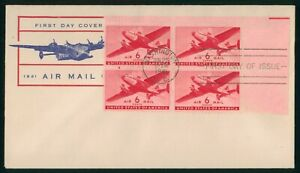 MayfairStamps US FDC Unsealed 1941 Block Plate 6 Cents Air Mail First Day Cover