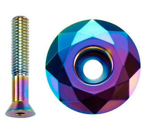 "Headset Stem Top Cap Oil Slick diamond cut shape 1 1/8"" MTB Commuter Road Bike"