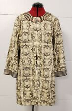 NWT Victor Costa Floral Embroidered Beaded 100% Linen Coat Jacket Duster Size XL