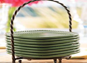 Princess House Pavillion  8 Green Olive Appetizer Plates & Caddy Set 5477 HTF