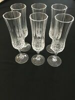 LONGCHAMP by CRISTAL D'ARQUES  Crystal Set of 6 Champagne Flutes   ELEGANT!