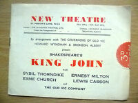 New Theatre Programme- KING JOHN by William Shakespeare