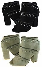 Jessica Simpson Womens Midara Open Toe Studded Fashion Zipper Booties Heels