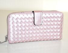 PORTAFOGLIO ROSA donna borsello doppio pochette ecopelle portamonete portfel G25