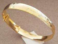 Lady's Yellow Gold Plated Adjustable Bangle Bracelet 9mm Wide Fashion Jewelry