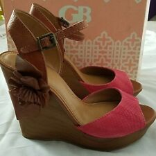 """GB by Gianni Bini """"Hot-Shot"""" Snake Print Pink & Brown Leather Floral Wedges 10"""