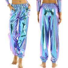 Womens Shiny Metallic High Waist Pants Hip Hop Dance Party Jogger Loose Trousers