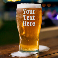Personalised Pint Glass Engraved Glassware Gift, Birthday Gift Wedding Any Text