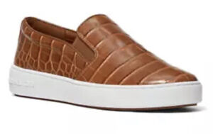 Nib Michael Kors Keaton Slip On Embossed Croc Shoes/Sneakers Chestnut Size 7.5
