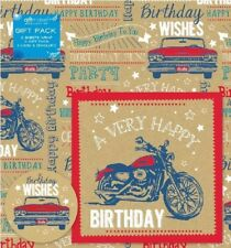2 Sheets Wrapping Paper Tags & Greeting Card VEHICLE Car Birthday Kids Boys Mens