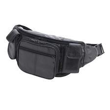 Large Black Genuine Leather Waist Fanny Pack Belt Bag Travel Hip Purse Solid