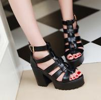 Gladiator Womens Punk Sandals Buckle Platform Creepers Chunky High Heels Shoes J