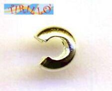 ARGENTO 925 MASSICCIO italiano - 2 copri schiaccini 4 mm colore oro