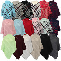 Ladies Poncho Jumper Womens Knitted Cape Sweater Top Check Pullover Shawl Winter
