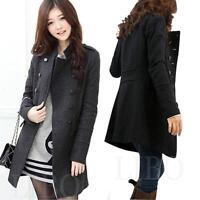 Women Winter Wool Blend Double Breasted Parka Trench Coat Windbreaker Jacket Top