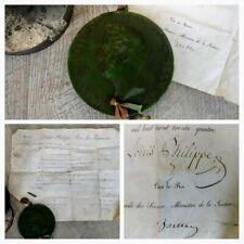 Sceau/ cachet de cire Royale Louis Philippe 1830 sur parchemin signé/ autographe
