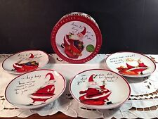 New listing Certified International Naughty Santa Canape Ceramic Plates Set of 4 New In Box!