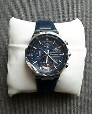 CASIO MEN'S EDIFICE SOLAR CHRONOGRAPH DATE LEATHER STRAP WATCH BLUE NEW WITH BOX