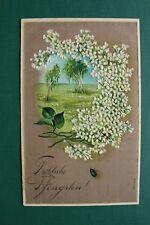 Kunst Präge Litho AK Fröhliche Pfingsten 1909 Blumen Landschfaft Käfer Bäume