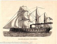 Antique print invincible warship Navy frigate cannon boat war 1863 ship France