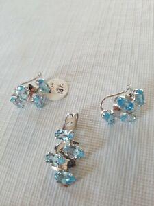 Beautiful Aquamarine Pendant & Earrings Set Solid 18K White Gold 750 8.1 Grams