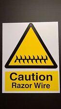 RAZOR WIRE WARNING SIGNS - RIGID COMPOSITE MTERIAL