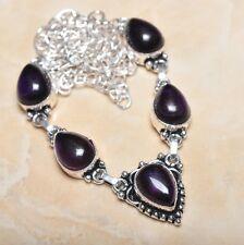 hecho a Mano Elegante Amatista violeta plata de ley 925 Collar 52.1cm n00635