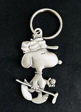 Pewter Silver SNOOPY Golfing Golf Charlie Brown Peanuts Figurine Keychain