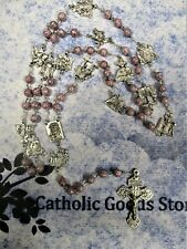 The Way of the Cross Chaplet - 8 mm Mauve Granite Czech bead)
