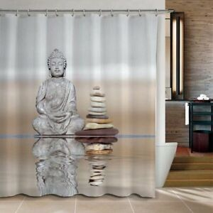 Shower Curtain Buddha & Pebble Reflection Waterproof Fabric 72 Inch 12 Hooks