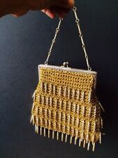 VINTAGE DEBONAIR GOLD LUREX AND DROP BEAD EVENING PARTY BAG PURSE