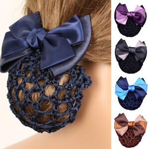 Women Bow Bun Clips Hair Accessories Cover Snood Nets Hair Barrette Hairnet au